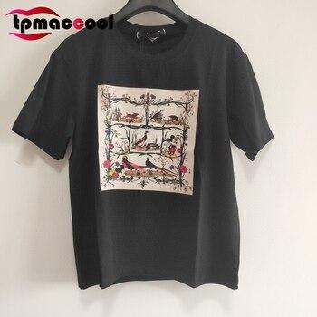Tpmaccool luxury designer Summer women shirt cute Animal Print Lettered Pattern Cotton Short-Sleeve round Collar tshirt tops S-L