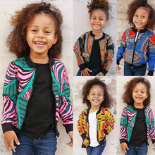 2019 New Girls Boys Autumn Dashiki African Windproof Coat Kids Print Warm Outwear Long Sleeve Jacket