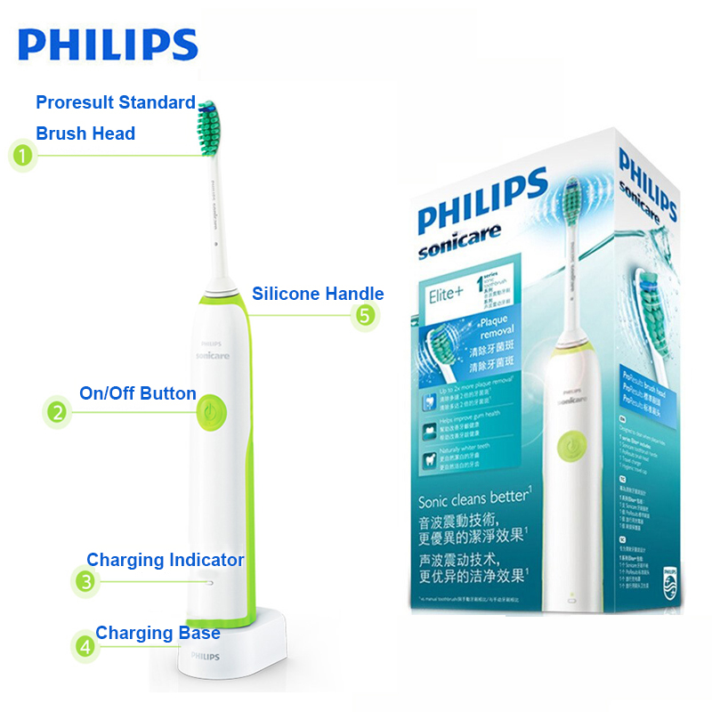 Philips HX3216 Sonicare Electric Toothbrush Rechargeable with Easy Click-On Brush Heads and Light Shows Battery Status for Aduls image