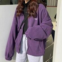 Women Autumn Hoodies Streetwear Zip-up Oversize Sweatshirt Jacket Trendy Solid Pocket Turn-down Collar Women Outwear