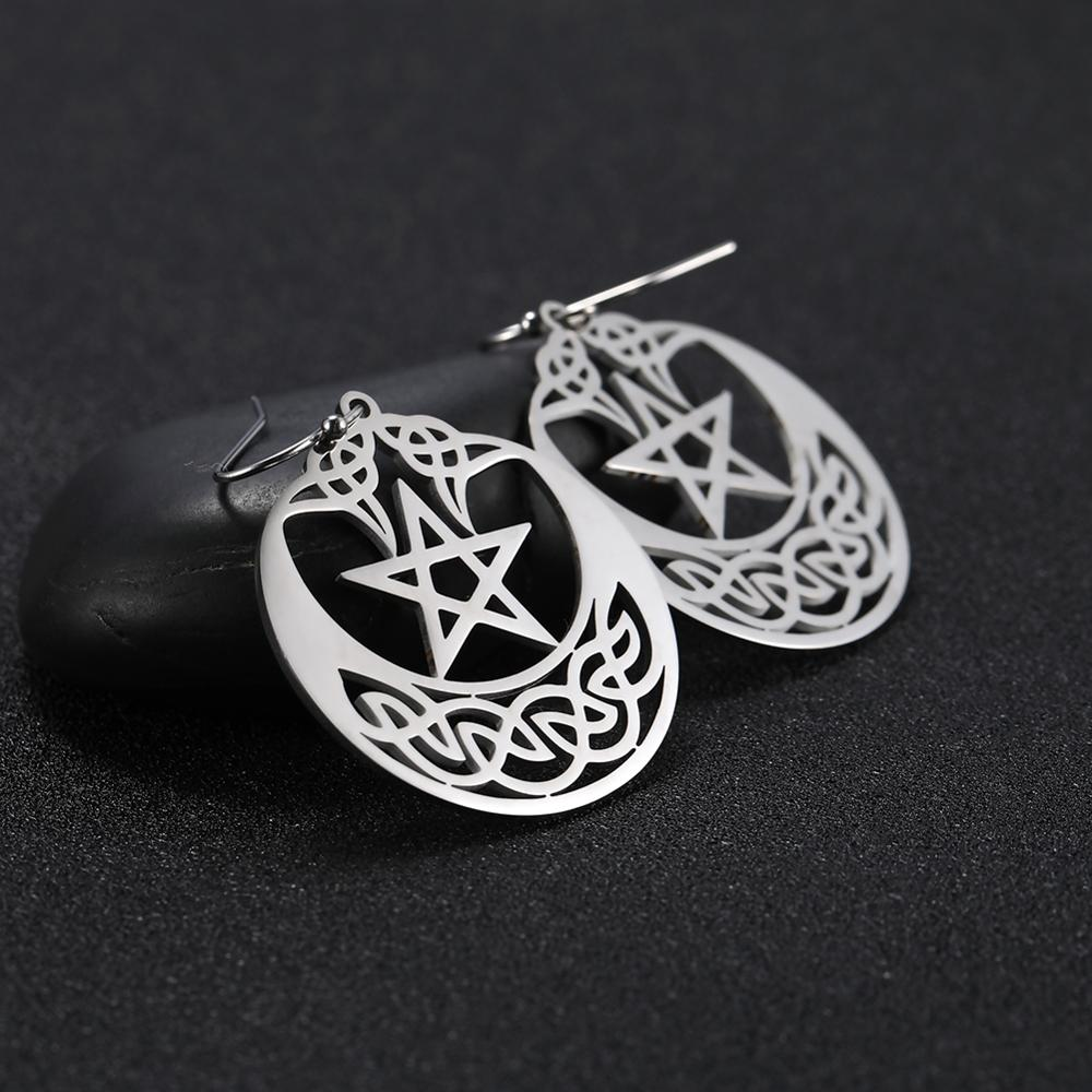 My Shape Gothic Big Hoop Earrings Irish Knot Amulet Stainless Steel Wedding Earring Pentagram Dangle Ethnic Talisman Jewelry