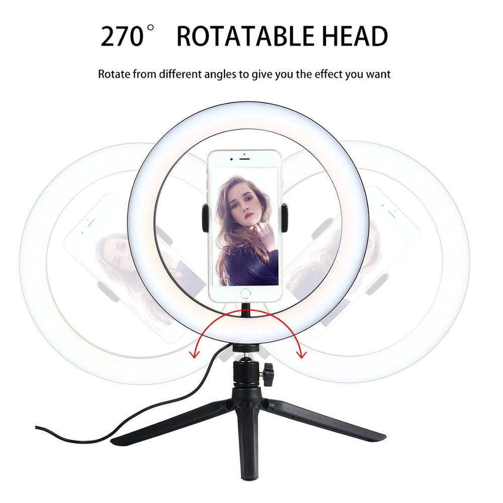 cheapest USB LED Light Ring Photography Flash Lamp With LEDs lights Convertible color For Makeup Youtube VK  Video Live broadcast Stand
