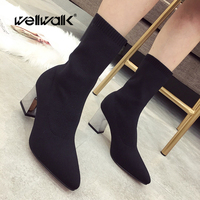 Knitting Winter Shoes Heels Women's Ankle Boots Metal Chunky Heel Pointed Toe Sock Booties Female Bootee Woman 2019 New Arrivals