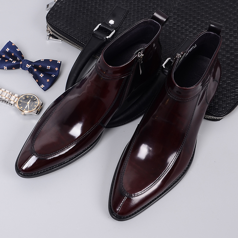 QYFCIOUFU 2019 mode hommes Chelsea bottes en cuir véritable Rome Style homme bottines à fermeture éclair homme robe chaussures marque chaussons - 2