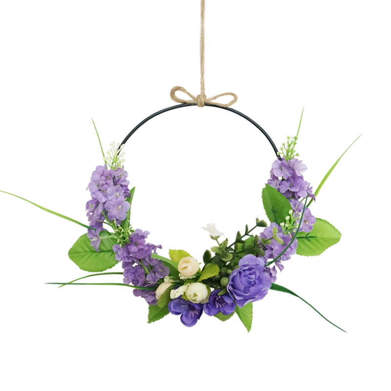 Artificial Flowers Wreaths 20cm Purple Peach Hyacinth Door decoration Garland For Wedding Party Home Farmhouse Decor image