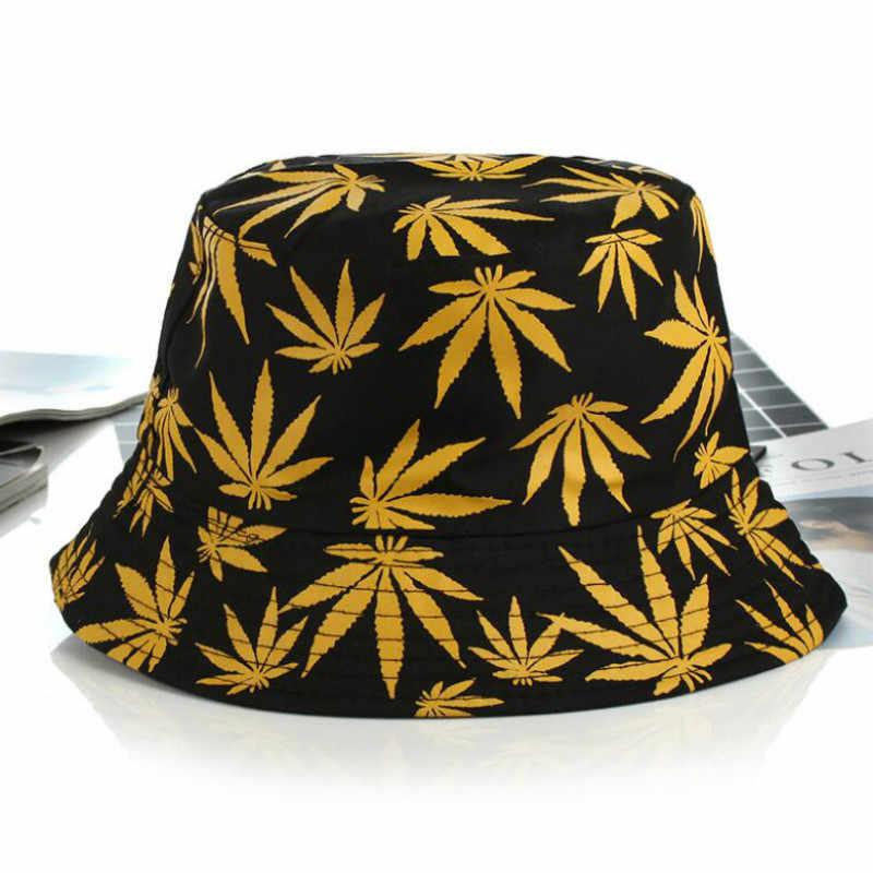 Dicetak Daun Ember Topi untuk Wanita dan Pria Hip Hop Kasual Katun Topi Musim Panas Memancing Topi Wanita Panama Pantai Bob topi