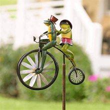 Bicicleta de metal do vintage girador vento metal ciclone pé bicicleta no vento girando moinho de vento ornamentos jardinagem jardim