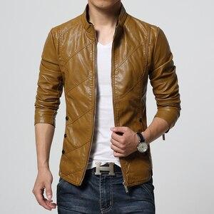 Image 4 - HCXY chaquetas de cuero para hombre, ropa de cuero PU para otoño, de negocios, informales, 2019