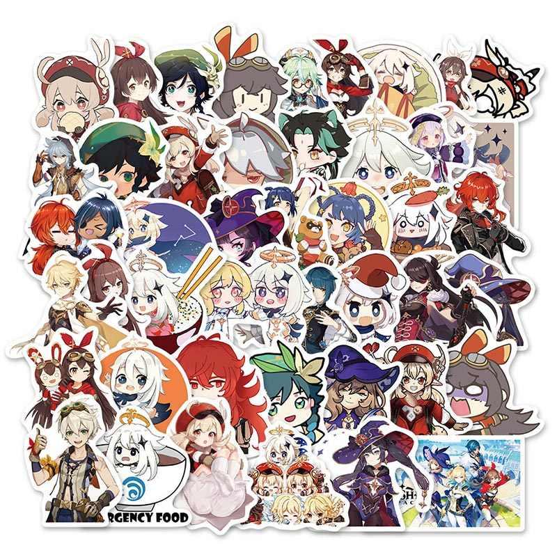 XXCKA 50Pcs Gioco Genshin Impact Cartoon Stickers Cool Decalcomanie Skateboard Frigo Chitarra Laptop Moto Bagagli Adesivo Impermeabile