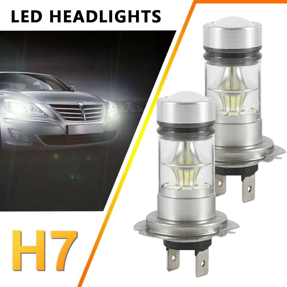 2Pcs H7 LED Car Headlight Bulb Car Signal Light 12V 100W 6500K Super Bright Car Fog Lights H7 Led Bulb Car Accessories