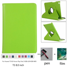 360 Rotating PU Leather Case for Huawei MediaPad T3 8.0 Honor Play Pad 2 KOB-L09 KOB-W09 Tablet Cover for Huawei T3 8.0 + film eagwell 360 rotating case for huawei mediapad t3 10 9 6 litchi pu leather flip stand tablet cover skin for huawei t3 10 case