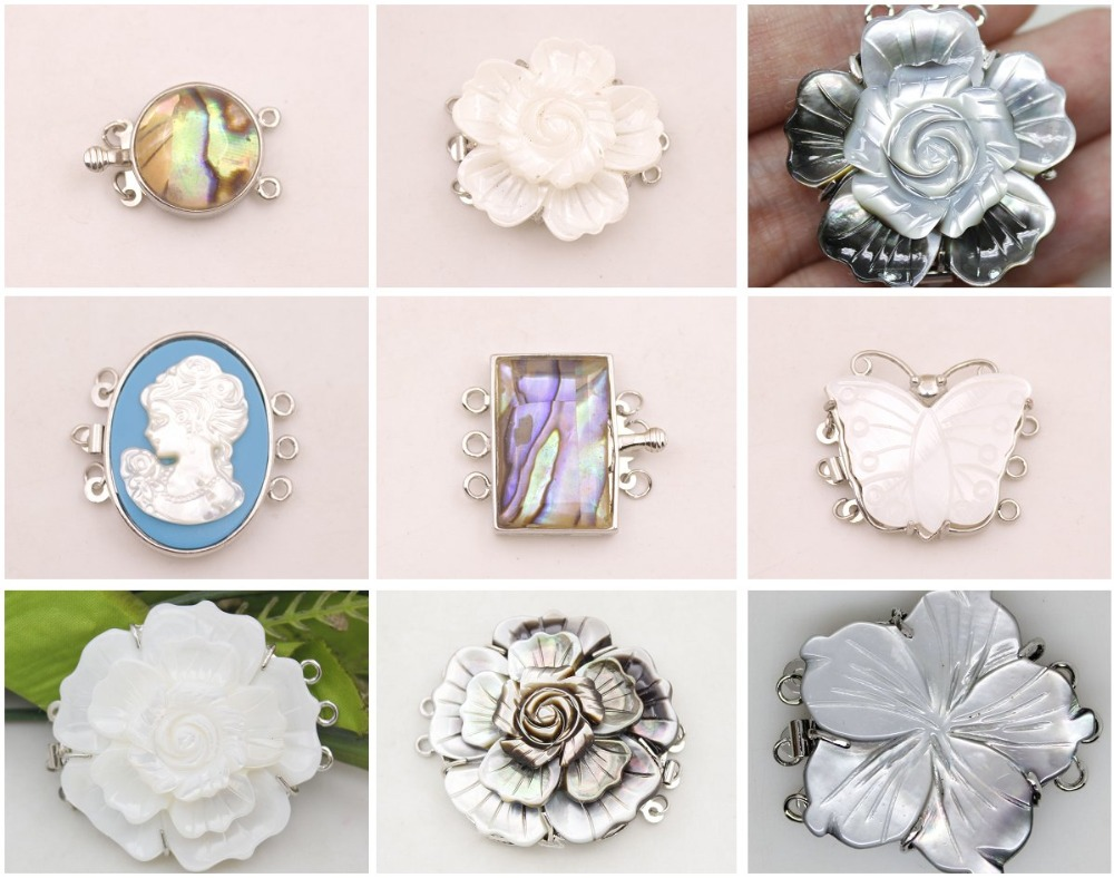 1 PCS Natural Gray White Mother Of Pearl Shell Flower Alloy Clasp 3ROWS Findings Design Choose