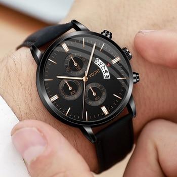relogio masculino watches men Fashion Sport Stainless Steel Case Leather Band watch Quartz Business Wristwatch reloj hombrewatch цена 2017