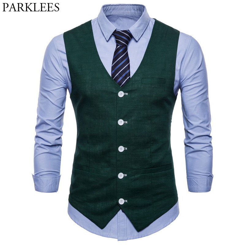 Cotton Linen Mens Casual Suit Vest Slim Fit Thin Fabric Sleeveless Dress Vests Mens Candy Color Business Wedding Waistcoat Male