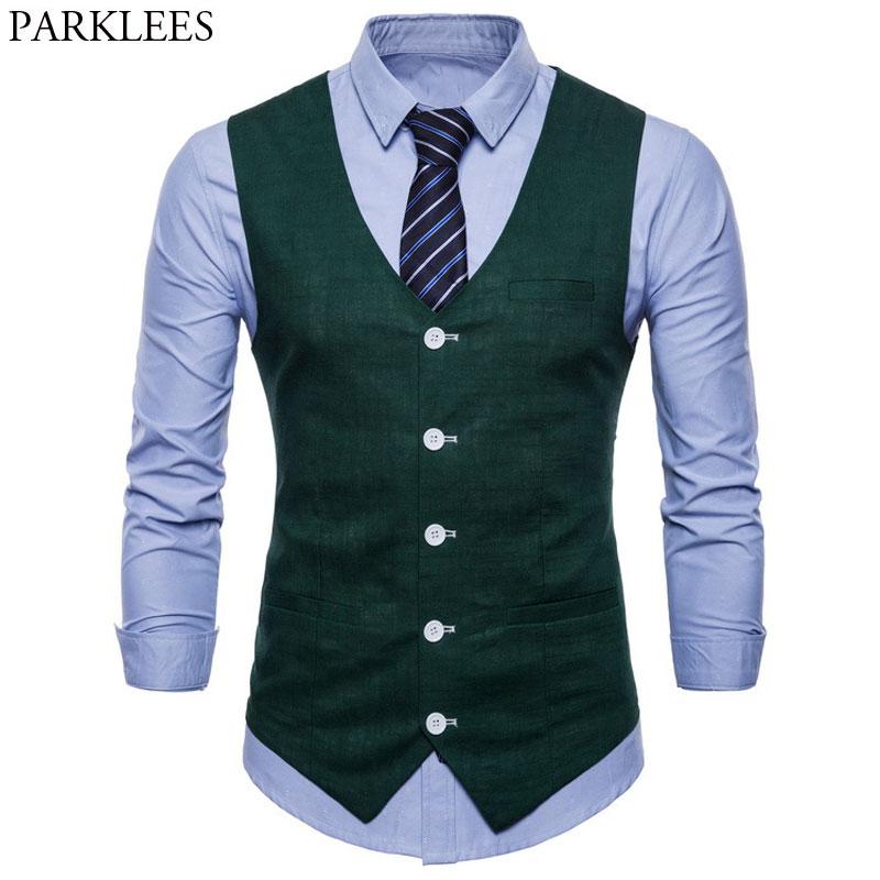 Cotton Linen Mens Casual Suit Vest Slim Fit Thin Fabric Sleeveless Dress Vests Mens Candy Color Business Wedding Waistcoat Male