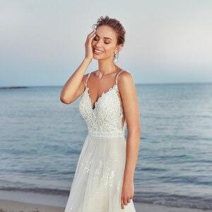 Image 5 - חלוק דה mariee חדש הגעה 2020 קיץ חוף חתונת שמלה עם רצועות לבן גב פתוח חתונת שמלות שריד דה Noiva