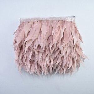 Image 4 - 5M/10 metre deri pembe Shred kaz tüyü düzeltir kaz beyaz sülün tüyleri el sanatları için Fringe şerit kostüm tüyleri Plumas