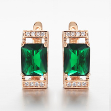 2020 Elegant 585 Rose Gold Green Stone Square Earrings for Women Girls White CZ Stud EarringsFashion Jewelry GE323
