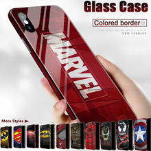 Lxuruy Fashion Marvel Colored Border Phone Case For iPhone 11 Pro Max X XS MAX XR 6 6s 7 8 Plus For Tempered Glass Back Cover new iphone case for iphone 11 for iphone11 pro max 5 8 inches 6 1 inches 6 8 inches 6 6s 7 8 plus ix xr max x fashion back cover