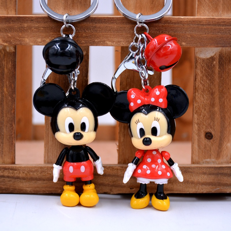 Mickey Minnie 6.5cm Doll Keychain Bell Pendant Car Keychain Pendant Backpack Zipper Pendant Wallet Doll Decoration