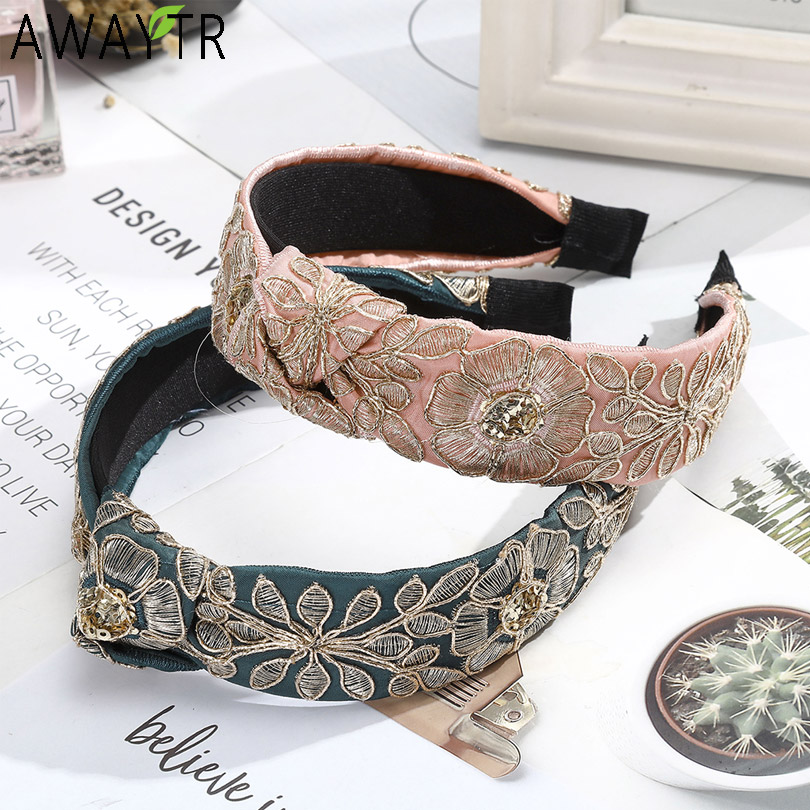 Retro Hairband Big Flower Embroidery Headband Cloth Fabric Knotted Women Hair Accessories Wide Exquisite Hair Band Hoop Woman