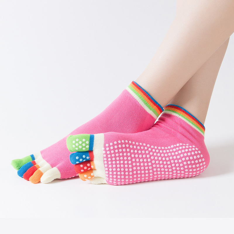 Women Sports Colorful Yoga Socks Hot Fitness And Pilates Cotton Socks Rainbow Workout Anti Slip Toe Socks Breathable Purple