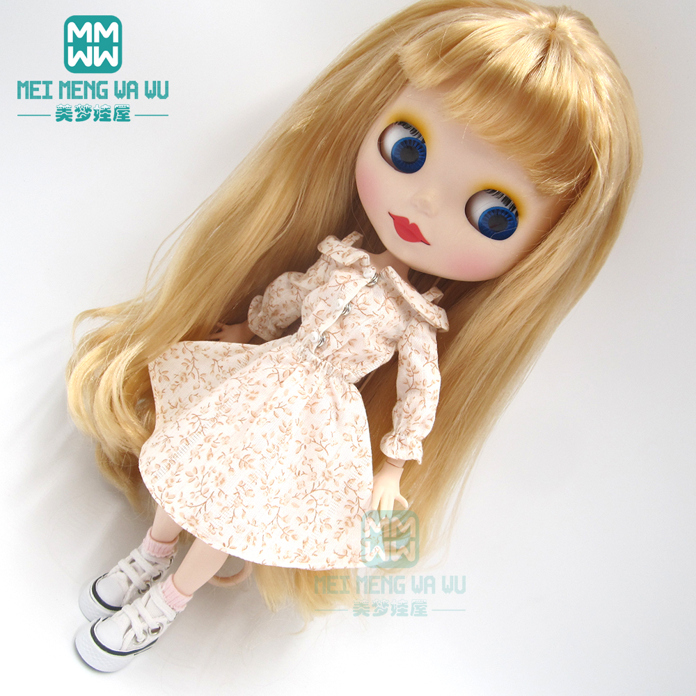 Blyth Doll Clothes Fashion Print Strapless Dress For Blyth Azone1/6 Doll Accessories