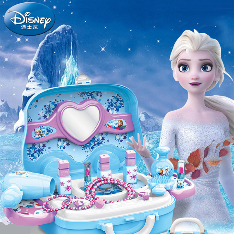 Disney Pretend Play Frozen Makeup Beauty Juguetes Xmas Birthday Gifts Girls Disney Frozen Toys For Children Luggage Backpack