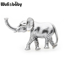 Wuli&baby Grey Enamel Elephant Brooches Women Alloy Classic Animal Casual Banquet Brooch Pins Gifts