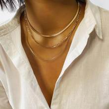 Punk Simple Fashion Multi Layered Choker Necklace Sweater Chains Geometric Circle Collar Necklace Women Jewelry Collier Femme(China)