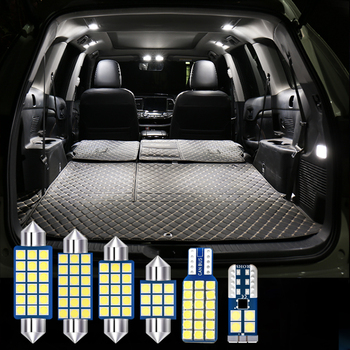 For Jeep Grand Cherokee 2018 2019 6pcs Error Free 12v Auto LED Bulb Kit White Car Interior Dome Light Reading Lamps Trunk Lights 25pcs car interior white led light bulb kit for bmw x5 e70 m 2007 2013 auto dome map door mirror trunk glove replacement lights
