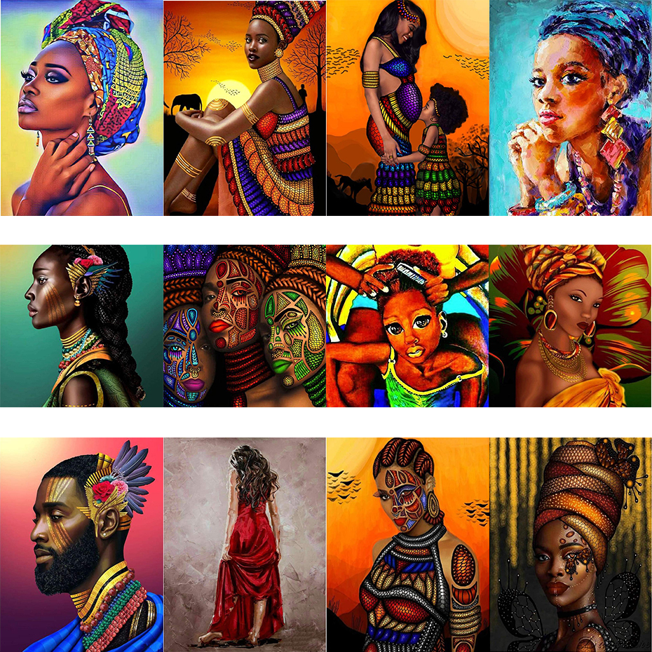 2020 mulheres africanas diy pintura por números na tela diy artesanato adulto coloração por número acrílico pintura menina africana