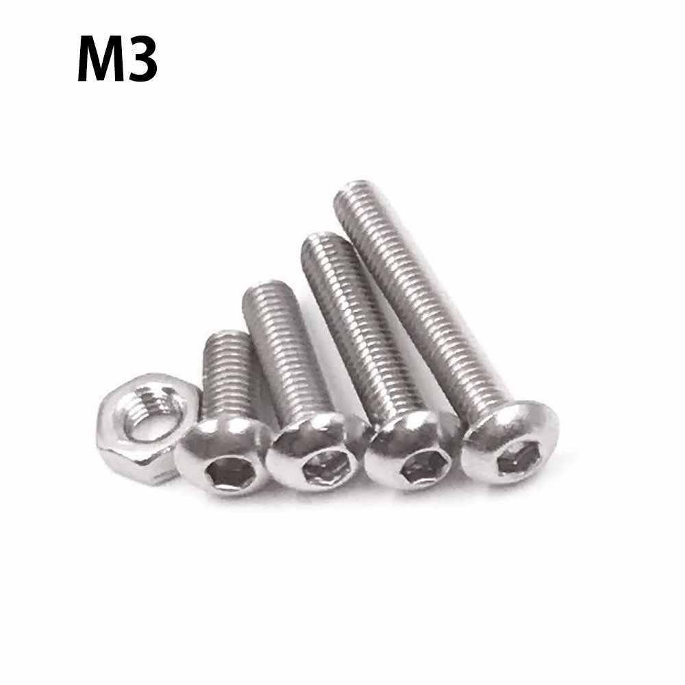 高品質 500 個 M3 M4 M5 ステンレス鋼ボタンヘッド六角ソケットヘッドキャップボルトネジとナットキットとレンチ