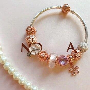 Quality Original 1:1 100%925 Sterling Silver Flower Beaded Bracelet Free Shipping