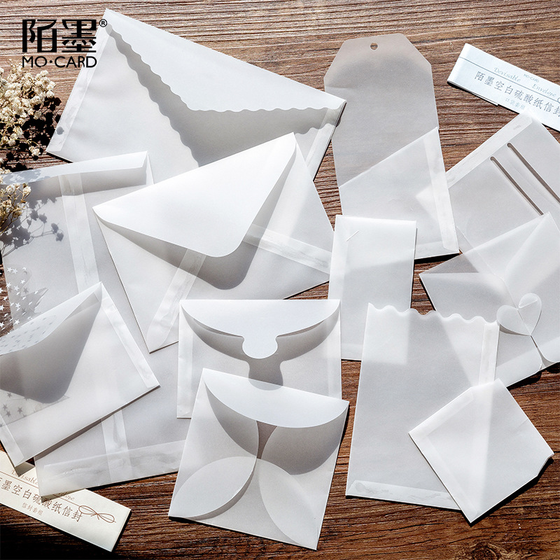TUNACOCO 6pcs Envelope Retro Mailer Set Parchment Paper  Translucent Gift School Office Supplies Qt1710149