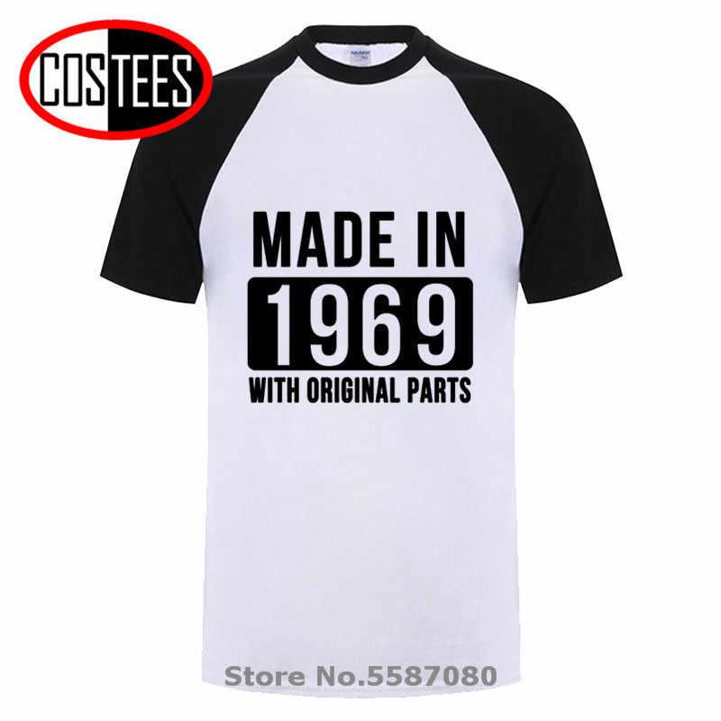 Born In 1969 All Original Parts Mens Short Sleeve New Cotton Black T-shirt