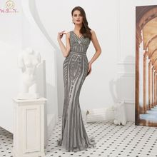 Gray V-Neck Mermaid Evening Dresses 2019 Rhinestones Sleeveless Long Shiny Crystal robe de soiree Formal Tulle Party Prom Gowns
