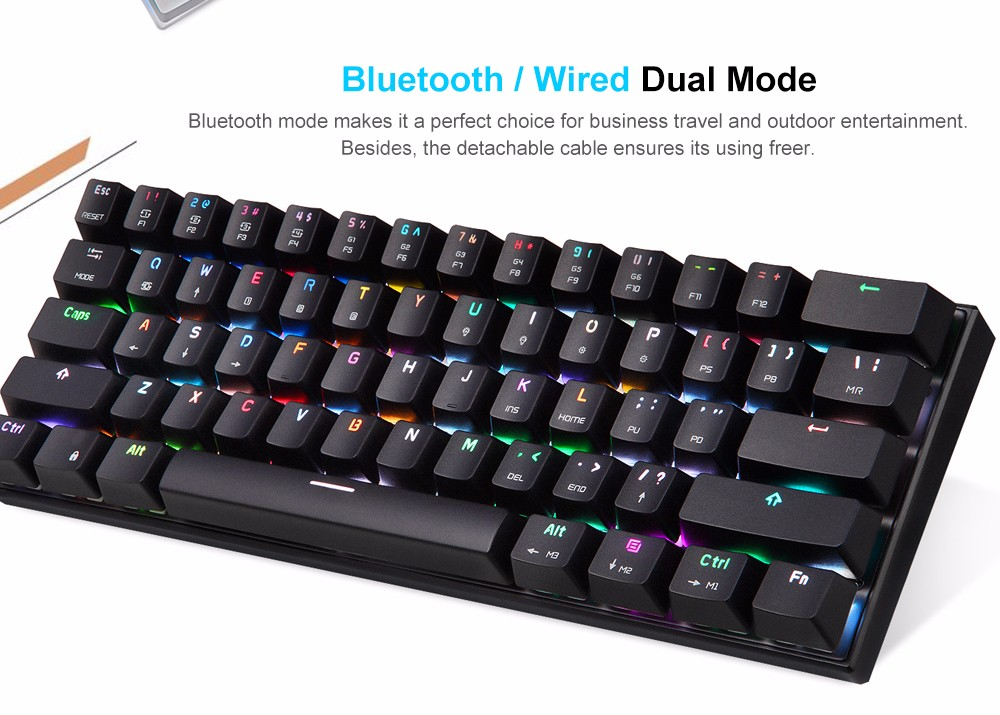 modo duplo teclado mecânico 61 teclas rgb led backlight gaming keyboard
