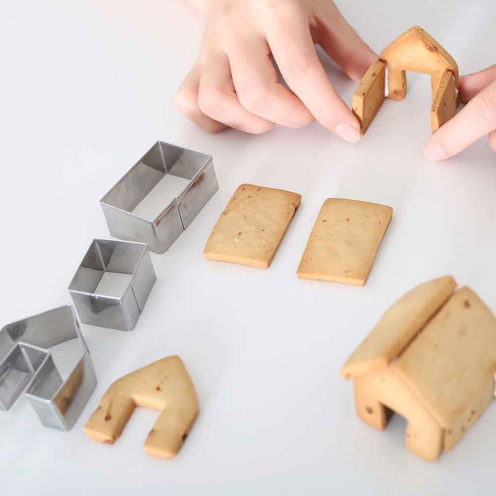 3 adet/takım Paslanmaz Çelik Noel Gingerbread House Çerez Bisküvi Kesici Kalıp noel hediyesi DIY Ev Mutfak Pasta Pişirme Araçları