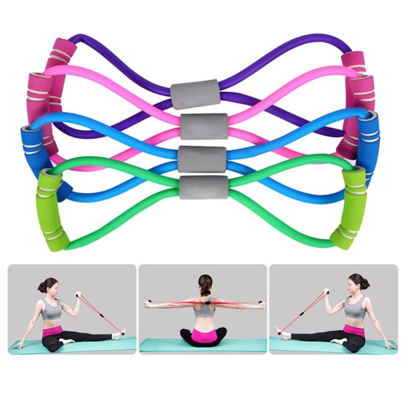 New Yoga Gum Fitness Resistance 8 Word Chest Expander Rope Workout Muscle Fitness Rubber Elastic Bands For Sports Exercise 2019
