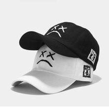 Кепка унисекс с вышивкой хлопковая бейсболка грустным лицом