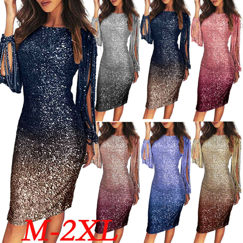 US 2020 Fashion Women Swquined Sheath Style Bodycon Pencil Skirt Gatsby Evening Party Dress Fringe Tassel Evening Cocktail Prom