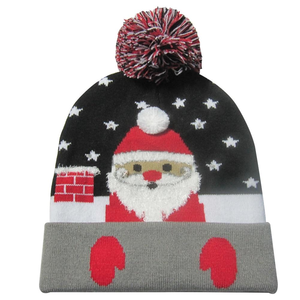 Г., 43 дизайна, светодиодный Рождественский головной убор, Шапка-бини, Рождественский Санта-светильник, вязаная шапка для детей и взрослых, для рождественской вечеринки - Цвет: 37