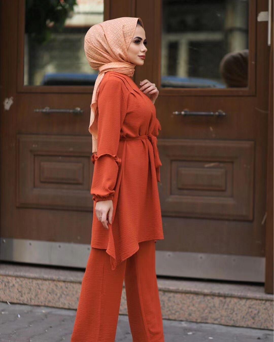 Eid Two Piece Muslim Sets Abaya Women Turkey Lace up Hijab Dress Caftan Moroccan Kaftan Islam