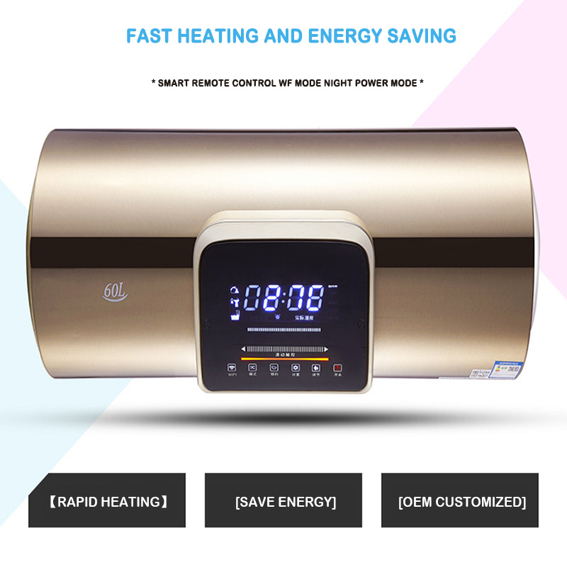 60 Liters Household Rapid-fired Rose Gold Electric Water Heater Toilet Horizontal Shower Water Heater Engineering Customization