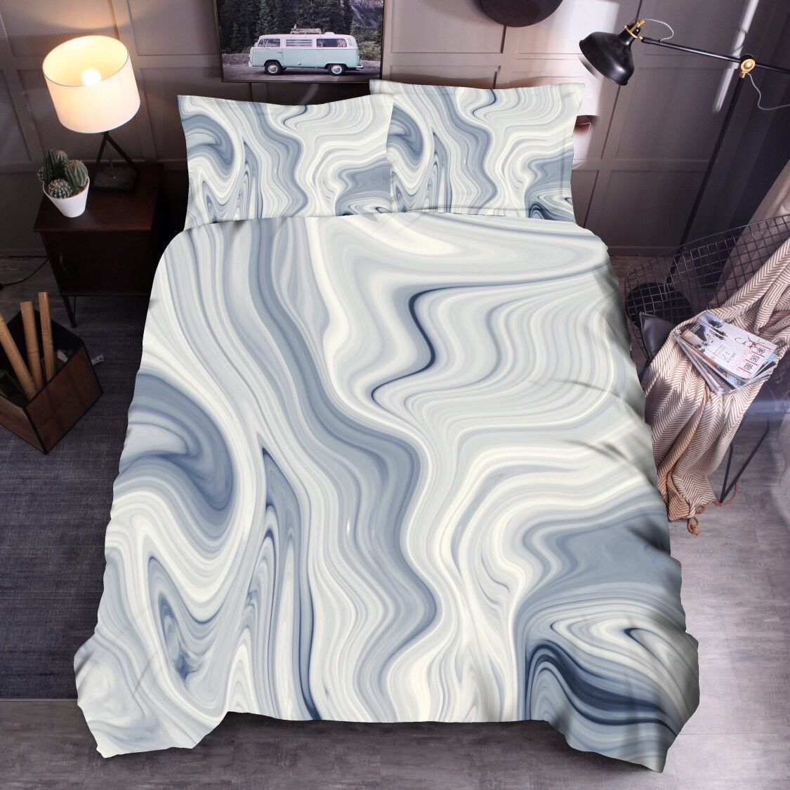 New Style  Hot Sales Bedding Article Color Marbling Quilt Cover Pillow Case Non-Bed Linen Sets