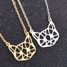 Fashion Cat Pendant Necklace Cute Gold Silver Animal Kitten Necklace Sweater Chain for Ladies Women Jewelry Gift fairywoo new 3 styles animal pendant necklace for women 2019 fashion cute cat jewelry gold chains handmade necklace glass beads