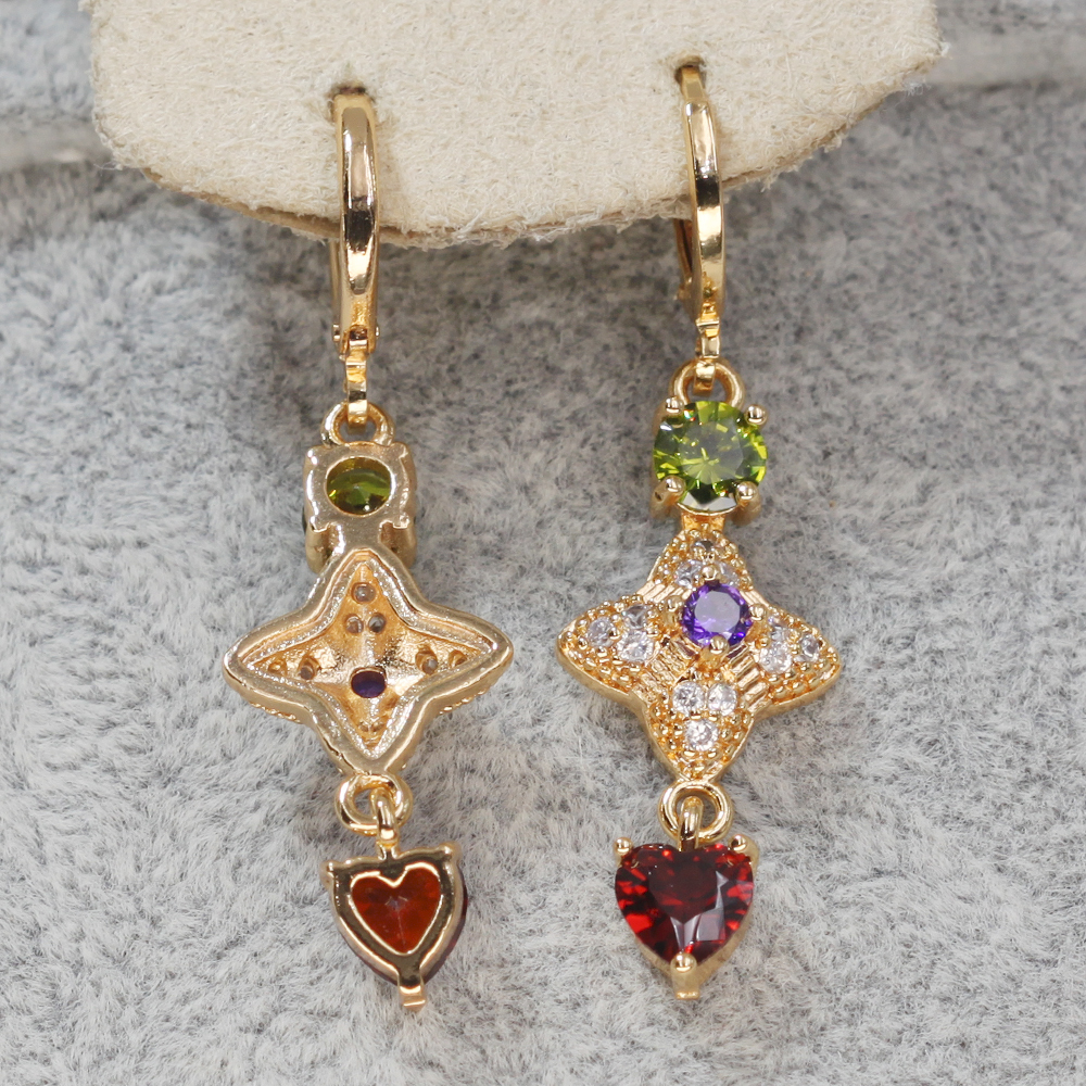 Hed422266c6b84f69a884454583bd0326J - Trendy Vintage Drop Earrings For Women Gold Filled  Red Green Pink Lavender Zircon Earrings Gold  Earring Wedding  Jewelry