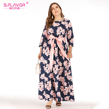 Dress Spring Bohemian Maxi Floral-Print S.FLAVOR Plus-Size Women O-Neck Vestidos Party