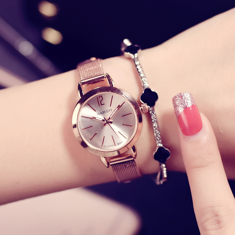 Rose Gold Luxury Women Fashion Casual Watches Simple Dial Female Quartz Watch Stainless Steel Mesh Strap Ladies Wristwatches